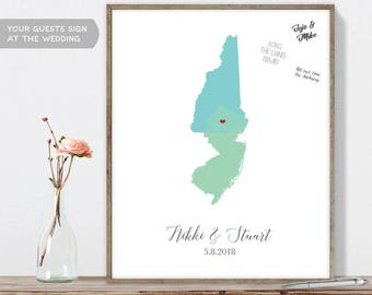 Wedding Map Guest Book Alternative / Custom Color States Map /  Map Guestbook / Guest Sign In ▷Canvas, Paper, Board {or} Printable