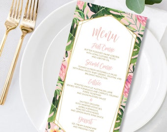 Tropical Menu Card - Palm Leaf Menu Card Gold and Blush for Your Tropical Party Decor, Tropical Wedding or Destination Wedding