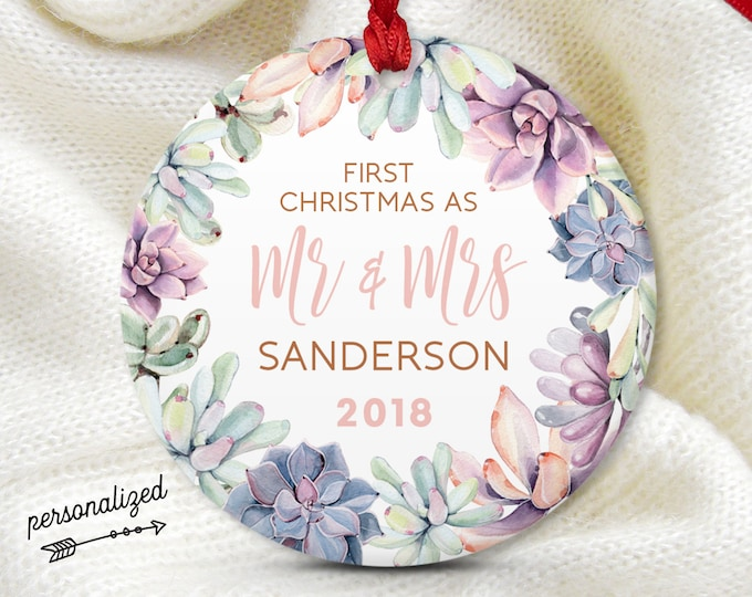 First Married Christmas as Mr and Mrs, Calligraphy Ornament, Succulent Wedding Gift, Blush Pink and Purple Succulent