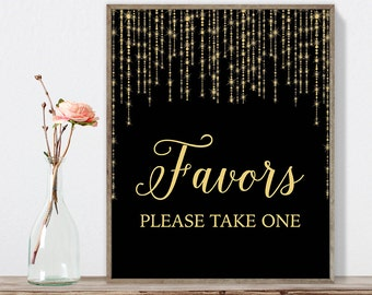 Favors Sign DIY / Please Take One / Gold Wedding Sign / Great Gatsby, Bokeh String Light / Black and Gold Calligraphy ▷Instant Download JPEG