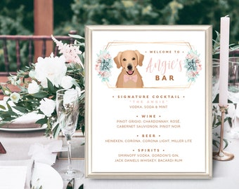 Pet Portrait, Succulent Wedding Bar Menu Sign, Custom Pet Portrait Signature Drinks Sign, Signature Cocktail Sign, Canvas Sign for Wedding