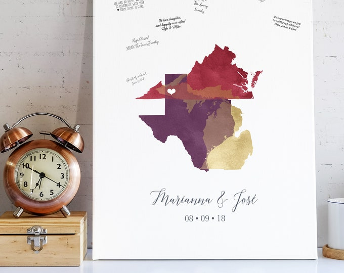 Boho Guest Book Alternative, Personalized Map Guest Book for Rustic Barn Boho Wedding, Purple Sangria Wedding Sign Framed