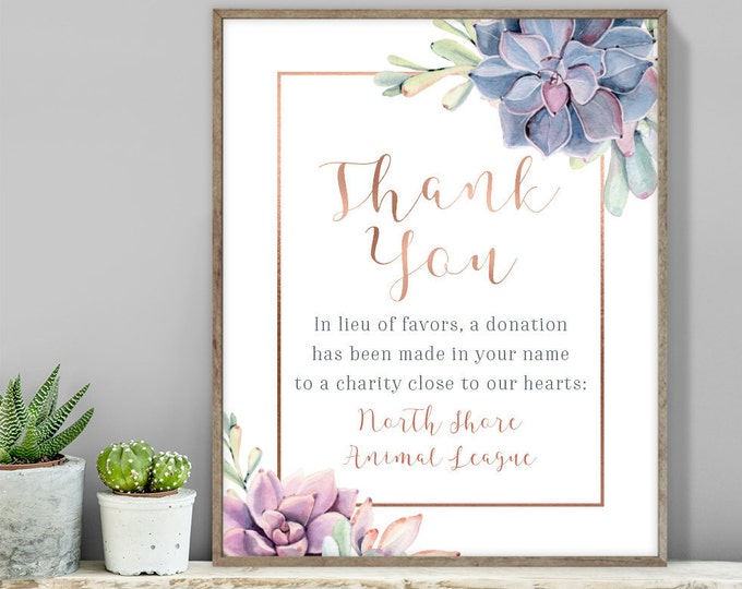Succulent Thank You Sign / In Lieu Charity Donation / Greenery, Rose Gold Geometric / Cactus, Copper ▷ Printable File {or} Printed & Shipped