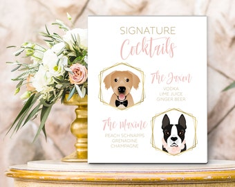 Signature Drink Sign, Pet Portrait, Wedding Bar Sign, Canvas Sign, Printable, Cocktail Bar, Cartoon Portrait, Wedding Bar Menu, Dog Wedding