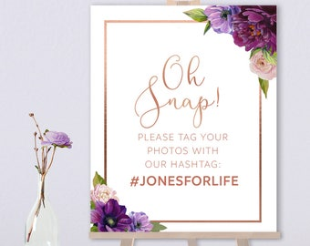 Purple Hashtag Sign / Instagram Sign / Purple Flowers, Anemone, Peony, Ranunculus, Rose Gold Wedding ▷ Printed Paper, Canvas {or} Printable