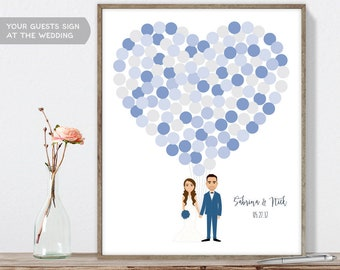Wedding Guest Book Alternative Poster DIY  / Personalized Couple Illustration / Blue Balloon Heart / Custom Illustration ▷ Printable PDF