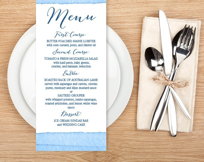 Wedding Menu Card / Nautical Ombre Sapphire Blue Watercolor Menu / Ombre Watercolor Collection ▷ Printable File {or} Printed & Shipped