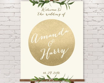 Gold Wedding Welcome Sign / Sparkle Gold Welcome / Metallic Champagne Gold and Cream / Custom Sign ▷ Printable File {or} Printed & Shipped