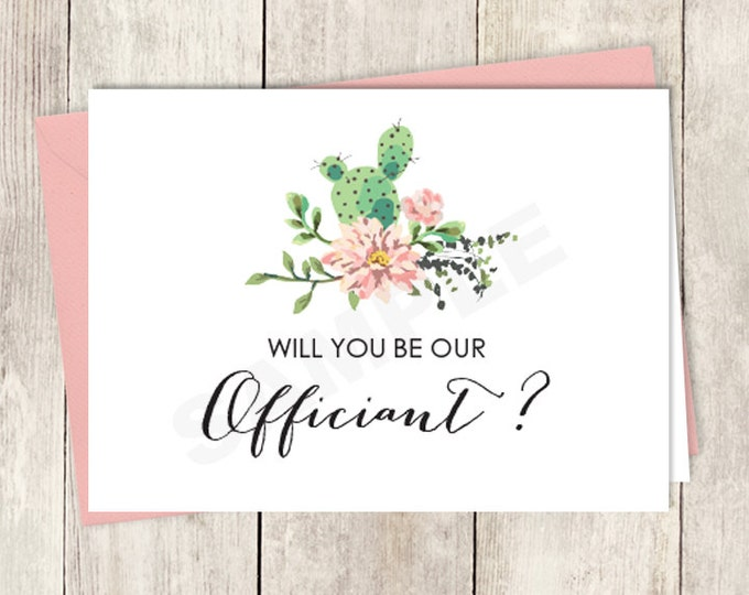 Rustic Will You Be Our Officiant Card DIY Printable / Wedding Card / Cactus Succulent, Coral Flower Wreath Fiesta ▷ Instant Download