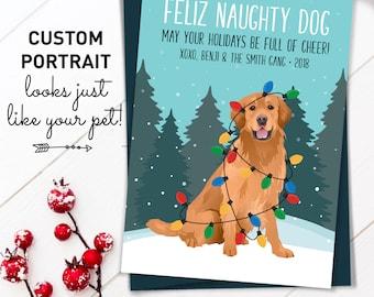 Golden Retriever Christmas Card, Unique Holiday Cards with Custom Pet Portrait, Funny Dog Holiday Card, Retriever Xmas Card