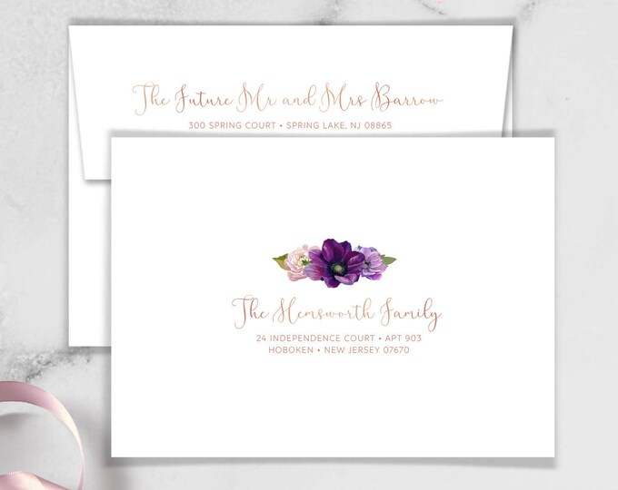 Purple Envelopes with Guest & Return Address Printing / Purple Flowers, Anemone, Peony, Ranunculus, Rose Gold ▷ INVITE {or} RSVP Envelopes