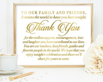 Thank You Sign DIY, Wedding Guest Sign / Gold Wedding Sign / White Gold Calligraphy, Faux Metallic Gold ▷ Instant Download JPEG