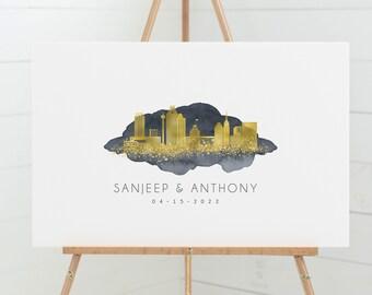 San Antonio skyline guest book alternative •  Custom city wedding sign  •Faux metallic gold & gray watercolor guestbook, Texas wall art