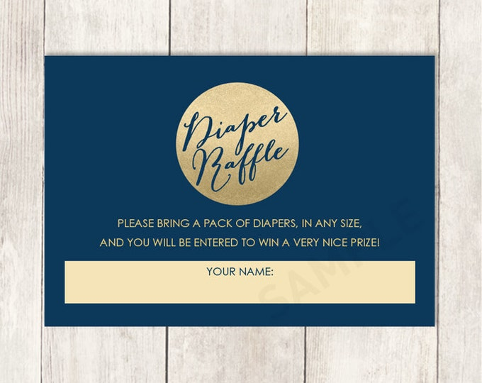 Gold Sparkle Diaper Raffle Card DIY / Metallic Gold Sparkle Glitter Circle / Gold and Navy / Baby Shower Printable PDF ▷ Instant Download