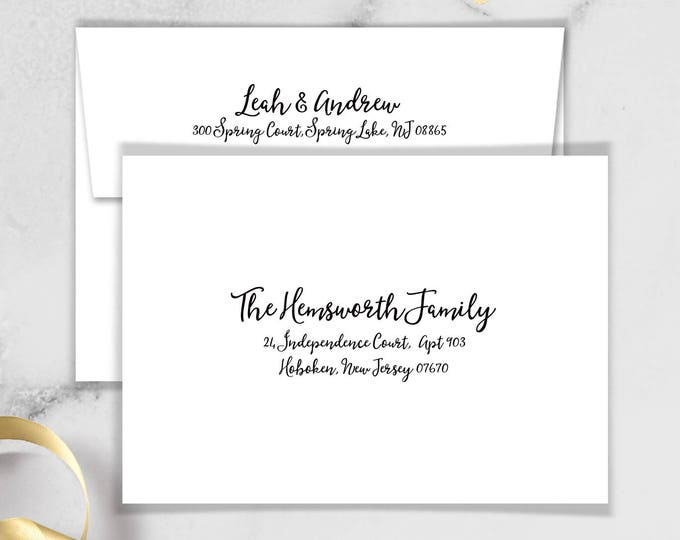 Boho Calligraphy Envelopes with Guest & Return Address Printing / Modern Romantic Invite / Boho Black and White ▷ INVITE {or} RSVP Envelopes