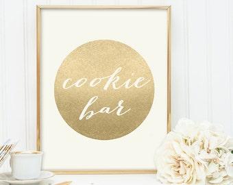 Cookie Bar Sign / Wedding Dessert Sign / Gold Sparkle Wedding Sign DIY / Metallic Gold and Cream / Champagne Gold ▷ Instant Download JPEG