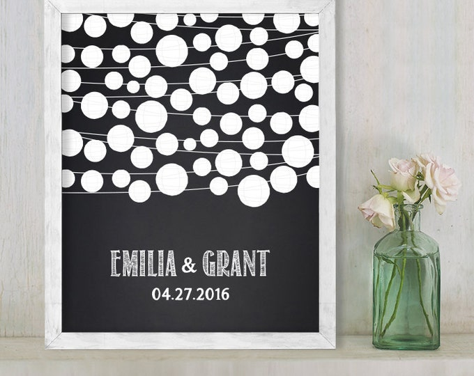 Wedding Guest Book Alternative Poster DIY / Chalkboard Lantern String Lights Guestbook Wedding Sign ▷ Printable File {or} Printed & Shipped