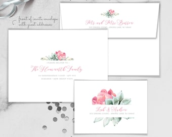 Succulents Envelopes with Guest & Return Address Printing / Pink Peonies, Green Succulent Bloom / Peony Flower ▷ INVITE {or} RSVP Envelopes