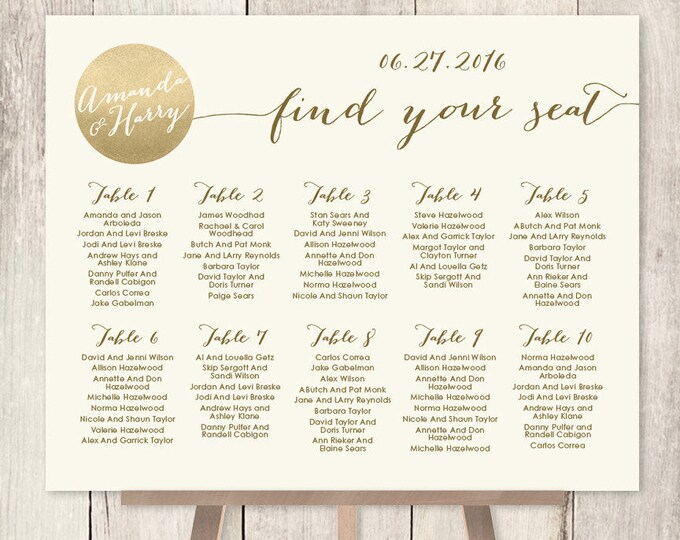 Wedding Seating Chart Sign DYI / Gold Wedding Sign / Metallic Gold and Cream / Seating Sign ▷ Personalized and emailed printable file