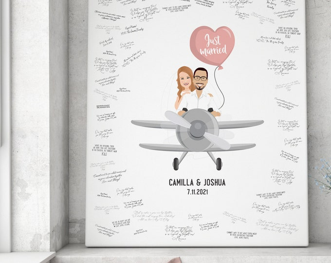 Featured listing image: Wedding Guest Book Alternative > Airplane Drawing, Custom Couple Portrait on Plane, Personalized Bride & Groom Cartoon