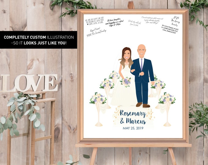 Rustic Wedding Guest Book Alternative / Illustration Cartoon Portrait / Barn Guestbook Canvas, Vintage Wedding Print {or} Printable