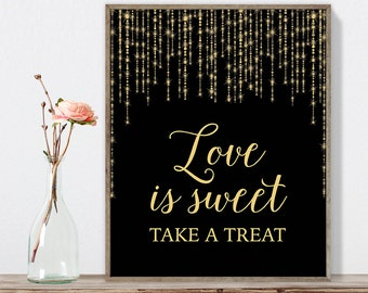 Love Is Sweet Sign DIY / Gold Wedding Sign / Great Gatsby, Bokeh String Light / Black and Gold Calligraphy ▷ Instant Download JPEG