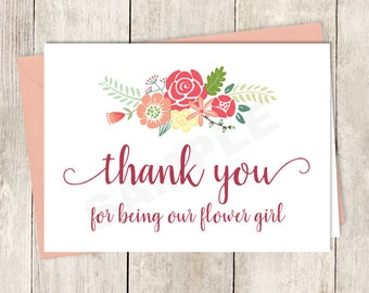 Thank You Card DIY Printable / For Being Our Flower Girl /Rustic Flower Charm / Bright Pink, Red, Yellow Wildflowers ▷ Instant Download