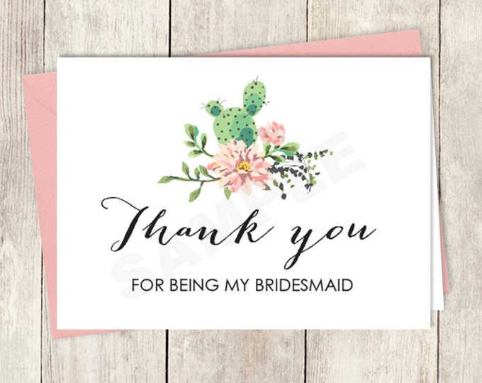 Rustic Thank You Card DIY Printable / For Being My Bridesmaid Card / Cactus Succulent, Coral Flower Wreath Fiesta ▷ Instant Download