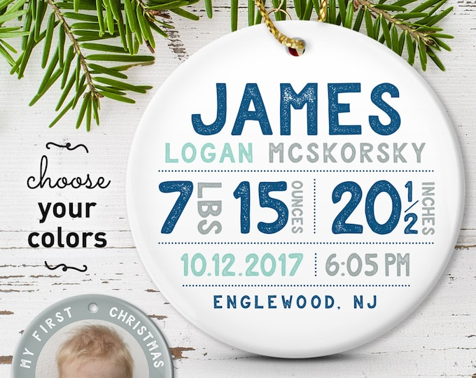Featured listing image: Personalized Baby Ornament, Baby First Christmas Photo Ornament, Baby Boy Birth Stats, Personalized Gift for New Parents