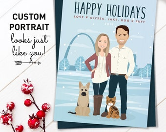 Pet Portrait Holiday Card, Custom Family Portrait Cartoon Christmas Cards, Saint Louis Skyline , Printed Card 5x7