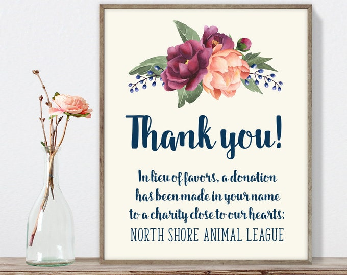 Burgundy Thank You Sign / In Lieu Charity Donation / Peony Berry Bouquet, Peach Blush Pink Ranunculus▷ Printable File {or} Printed & Shipped