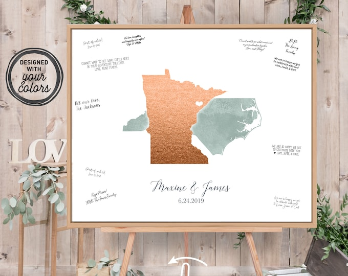 Wedding Guest Book Alternative > Dusty green watercolor & faux metallic copper guestbook canvas, State or country map guest book