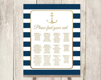 Nautical Wedding Seating Chart / Nautical Stripes / Navy Stripes, Gold Anchor / Navy and Gold Sign ▷ Printable File {or} Printed & Shipped
