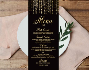 Elegant Menu Card DIY / Wedding Menu / Great Gatsby Inspired Bokeh String Light / Black and Gold Calligraphy ▷ Printable File {or} Printed