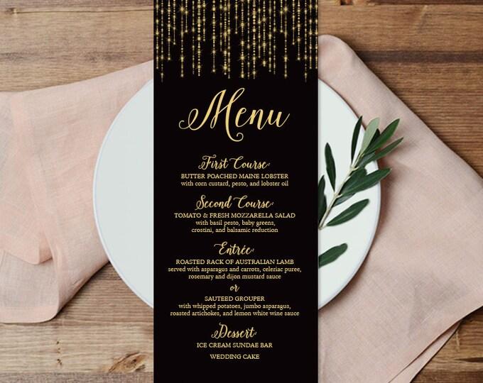 Elegant Menu Card DIY / Wedding Menu / Great Gatsby Inspired Bokeh String Light / Black and Gold Calligraphy ▷ Printable File {or} Printed
