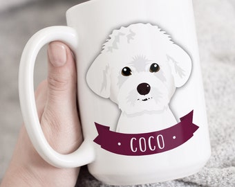 Maltese Mug, Custom Dog Portrait on Ceramic Mug, Custom Pet Cartoon, Maltese Mom Gift Idea, Personalized Gift for Dog Lover