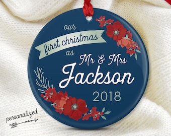 Our First Christmas as Mr and Mrs, Personalized Newlywed Ornament, Couple Wedding Gift Idea, Navy and Red Flowers