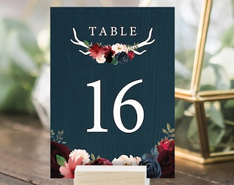 Rustic Table Numbers, Burgundy Navy Boho Wedding Table Names, Marsala Blush Flowers and Antlers > PRINTED Table Number Cards