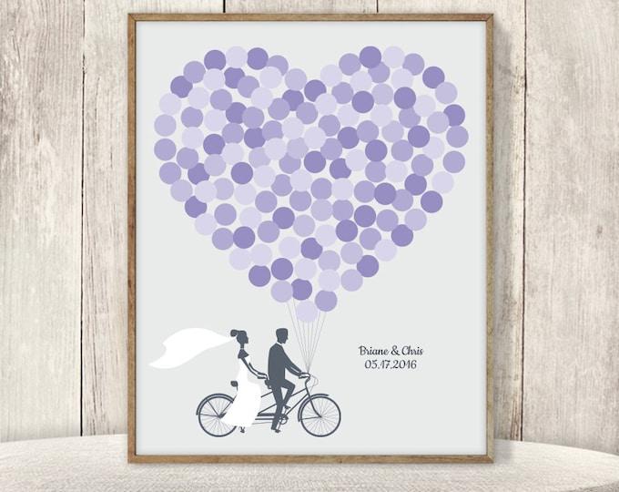 Wedding Guest Book Alternative Poster / Amethyst Purple Balloon Heart, Tandem Bike Wedding Sign ▷ Printable File {or} Printed & Shipped