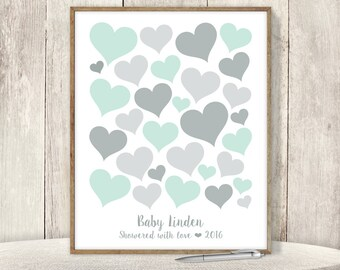 Mint Guest Book Alternative  / Baby Shower Sign In / Mint Green and Gray / Baby Birthday ▷ Printable File {or} Printed & Shipped