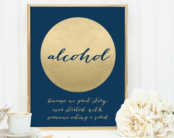 Alcohol Not Salad Sign DIY /Funny Wedding Navy and Gold Wedding Sign / Metallic Gold Sparkle Circle / Champagne Gold ▷ Instant Download JPEG