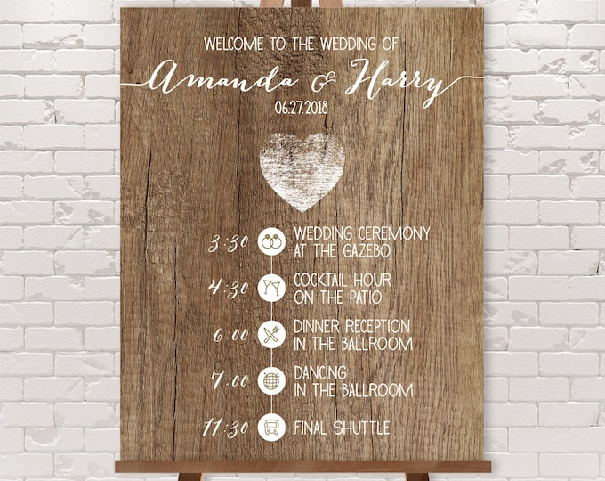 Rustic Wedding Timeline Sign / Wedding Itinerary Agenda, Icons / Distressed Rustic Wood, Heart ▷ Printable File {or} Printed & Shipped
