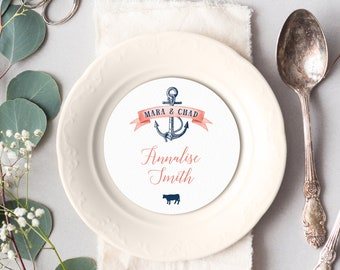Coral Navy Blue Place Cards, Nautical Round Card for Wedding Reception, Beach Destination Wedding Escort Cards >PRINTED Circle Place Card