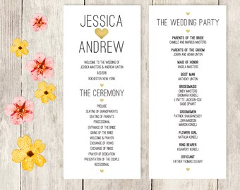 Wedding Program / Gold Watercolor Heart / Wedding Party Card / Wedding Schedule / Ceremony Program ▷ Printable File {or} Printed & Shipped