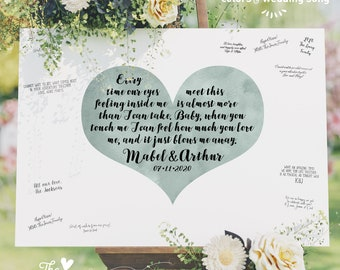 Wedding Guest Book Alternative > Boho Calligraphy on Dusty Miller Green Watercolor Heart, Wedding Song Lyrics Canvas Guestbook Sign