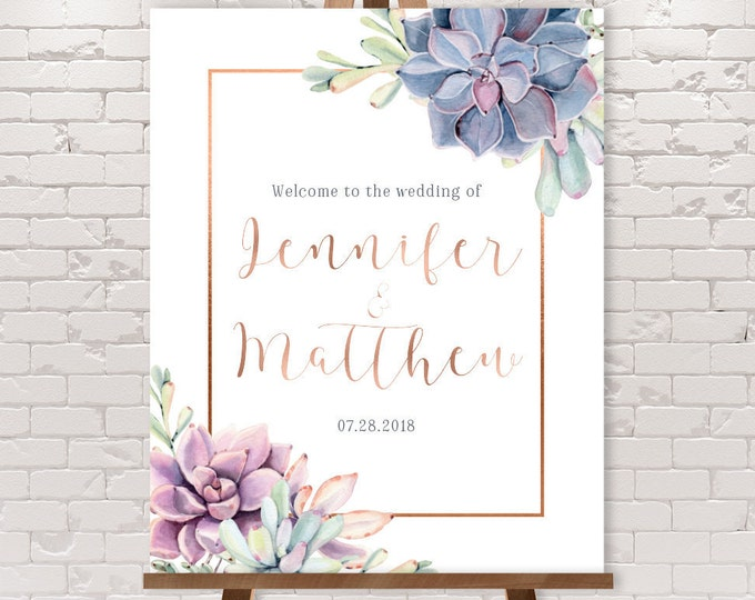 Succulent Wedding Welcome Sign / Greenery and Rose Gold Geometric / Cactus and Copper Calligraphy ▷ Printable File {or} Printed & Shipped