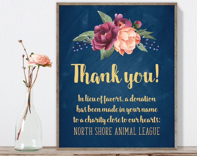 Marsala Thank You Sign / In Lieu Charity Donation / Peonies, Berries, Navy Chalkboard, Blush, Gold▷ Printable File {or} Printed & Shipped