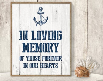 In Loving Memory Of Those Forever In Our Hearts // Wedding In Memory Sign DIY // Memorial Table // Nautical Anchor PDF ▷ Instant Download