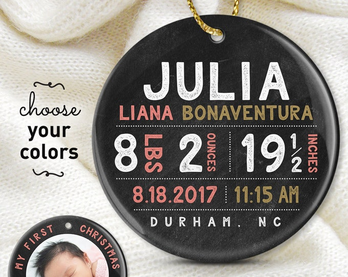 New Baby Ornament, My First Christmas Ornament, Personalized Baby Girl Gift, Photo Ornament, Rustic Christmas Gift under 50