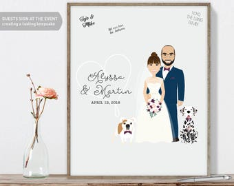 Wedding Portrait Guest Book Custom Couple Portrait, Fun Wedding Guest Book Alternative, Canvas Wedding Guest Book, Framed Wedding Guest Book